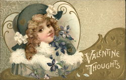 Valentine Thoughts - with Blonde Girl and Blue Flowers