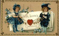 With Love's Greeting - Two Children dressed in Blue with Heart Garland
