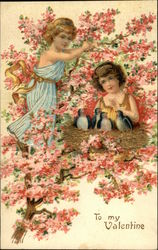 To My Valentine - Two Girls Near Birds' Nest in a Pink Blooming Tree