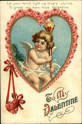 To My Valentine - Rose Trimmed Heart with Cherub holding Torch