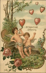 St Valentine's Offering - Two Cherubs Blowing Heart Shaped Bubbles
