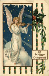 A Merry Christmas - Angel Playing Violin in Starlight Scene