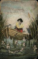 A woman in a boat in a marsh, with many babies in the water