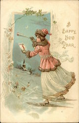 A Happy New Year with Woman, Horn, and Snow Scene