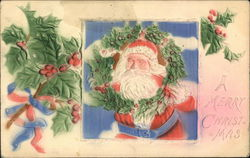 A Merry Christmas - With Embossed Holly and Santa