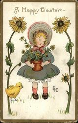 A Happy Easter with Young Girl, Sunflowers, and Baby Chick
