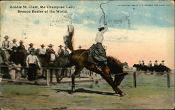 Goldie St. Clair, the Champion Lady Bronco Buster of the World