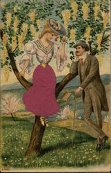 An Edwardian couple wooing in a field