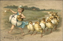A Happy Easter - Child Marching and Baby Chicks Following