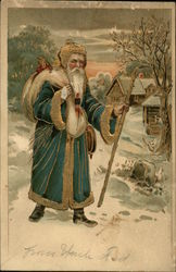 Kris Kringle carrying a bag of toys through the snow.