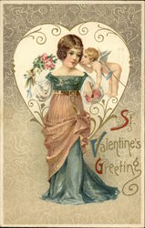 St. Valentine's Greeting - With Victorian Woman and Cupid