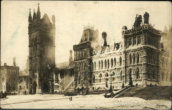 Canadian House of Commons Fire 1916 Ottawa Canada Ontario