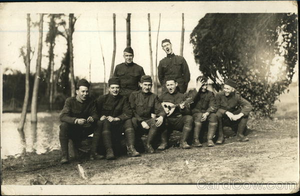 Group photograph of soldiers singing Military