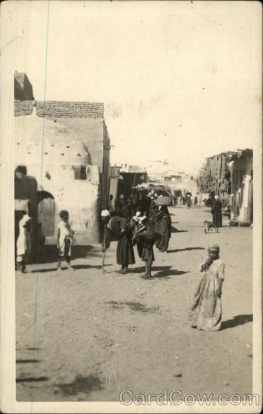 Photograph of people in the street in Egypt in 1945 Luxor
