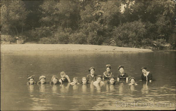 Photograph of people swimming in a river in the early 20th century Coolville Ohio