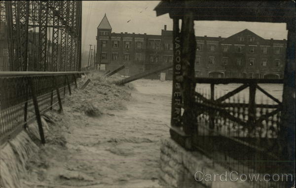 Flooded bridge Hamilton Ohio Disasters