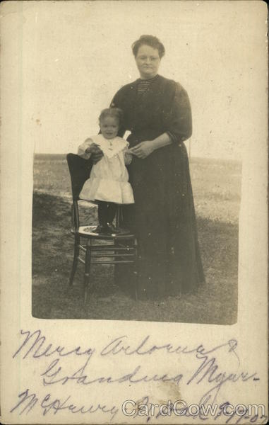 Woman & girl on chair - McHenry, ND Women
