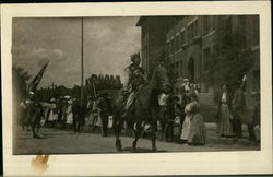 Exotic rider atop a horse in an early 20th century parade