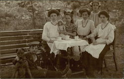 Outdoor photo of sisters and cousins in 1910
