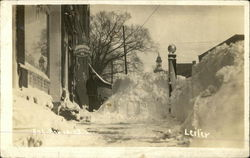 Snow Pile In Front of Telegraph Office Postcard