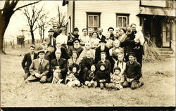 Group photo of the Pelton and Shultis families in the early 20th century