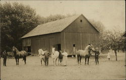 Draft horses and barn in the early 20th century