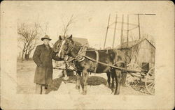 Photograph of Tink Leathers and his horses