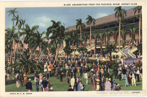 Grandstand From Paddock Jocky Club Miami Florida Horse Racing