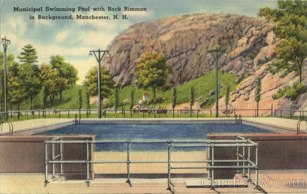 Municipal Swimming Pool With Rock Rimmon In Background Manchester New Hampshire