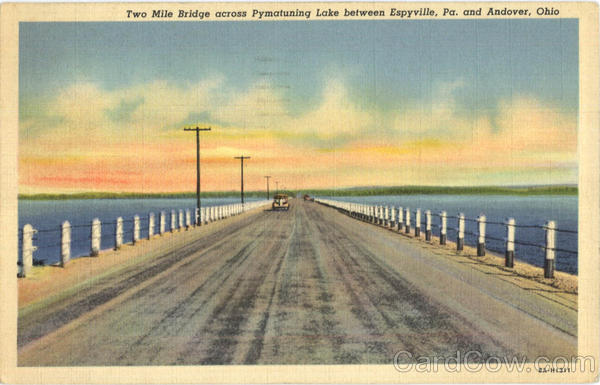 Two Mile Bridge Across Pymatuning Lake Scenic Ohio