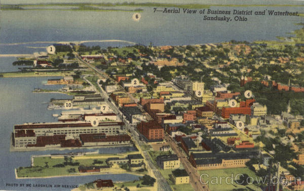 Aerial View Of Business District And Waterfront Sandusky Ohio