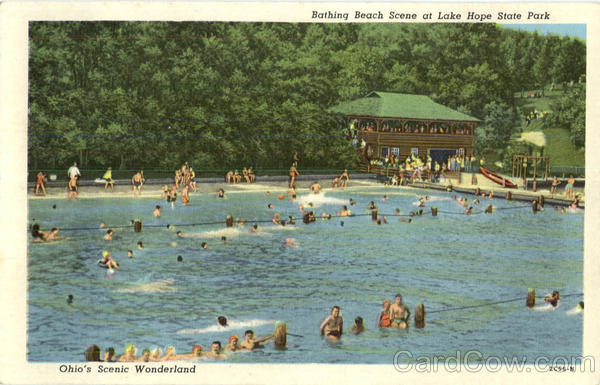 Bathing Beach Scene At Lake Hope State Park Ohio