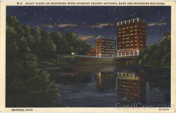 Night Scene On Mahoning River Warren Ohio
