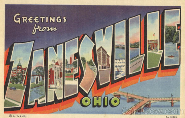 Greetings From Zanesville Ohio Large Letter