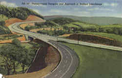 Pennsylvania Turnpike And Approach Of Bedford Interchange Postcard