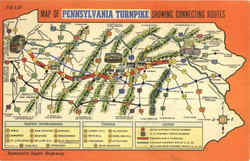Map Of Pennsylvania Turnpike Showing Connecting Routes Postcard