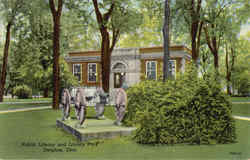 Public Library And Library Park Postcard