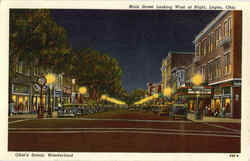 Main Street Looking West At Night