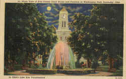 Night View Of Erie County Court House And Fountain In Washing Park