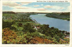 Bird's Eye View Of Ohio River And Gallipolis Postcard