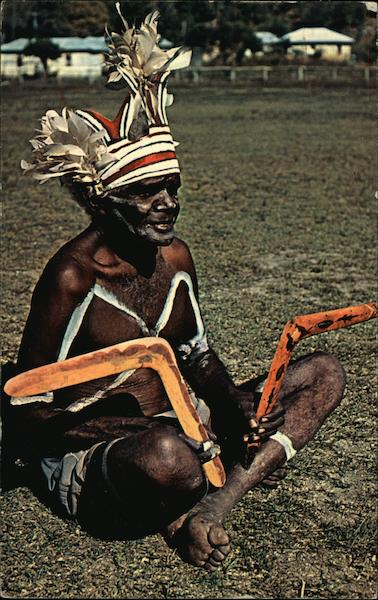 Australian Aboriginal With Boomerangs