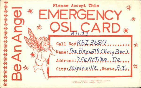 Be An Angel Please Accept This Emergency QSL Card