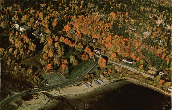 Aerial View of Village Green and Fall Color Seal Harbor Maine