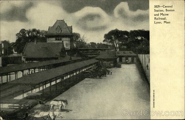 central station  boston and maine railroad lynn  ma postcard