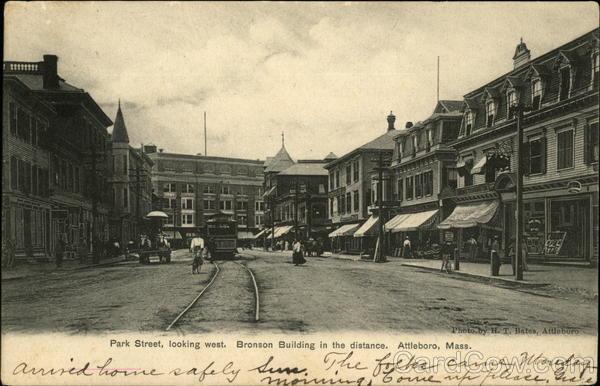 Main Street showing New Bronson Building Attleboro, MA