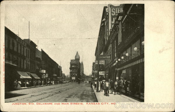 Junction 9th, Delaware and Main Streets Kansas City Missouri