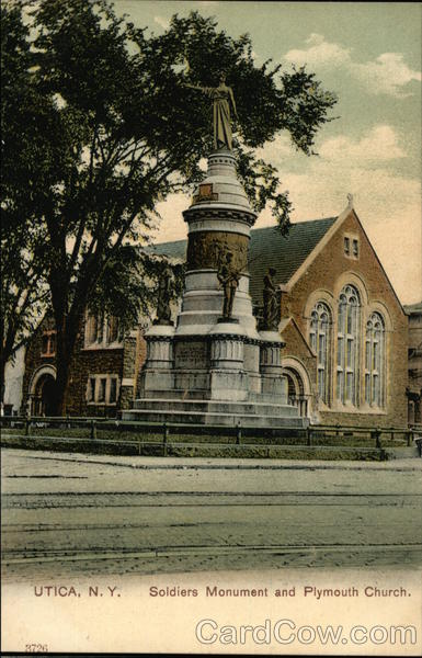 Soldiers Monument and Plymouth Church Utica New York