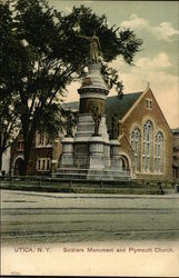 Soldiers Monument and Plymouth Church
