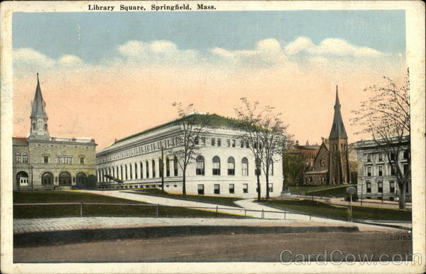 Street View of Library Square Springfield Massachusetts