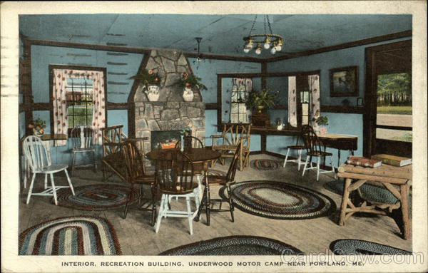Interior, Recreation Building, Underwood Motor Camp Falmouth Foreside Maine